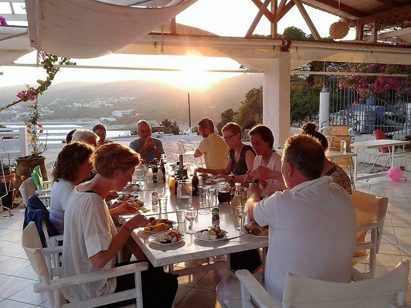 Group dining during a writing workshop